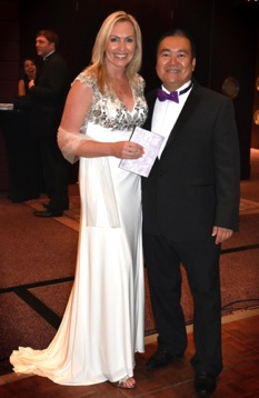 SingMe Founder & Musical Director, Billy Hui, pictured with Jayne O'Gorman Managing Director of Azure Luxury Holidays at their annual charity fundraiser. This year, the event raised over £45,000 in one night for 4 local cancer charities!