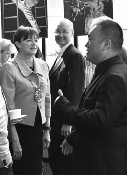 SingMe Founder & Musical Director, Billy Hui, chats with Lord Mayor of Liverpool, Cllr Roz Gladden, at the launch of Liverpool Carers Week