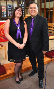 SingMe Founder & Musical Director, Billy Hui, and SingMe Choir Manager & Administrator, Wendy Williamson, at Christ The King Church, Birkenhead