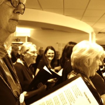 A choir member's view during a performance at Wirral Met College